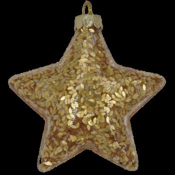 Gold Glitter Star Christmas Ornament