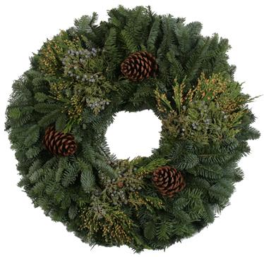 Mixed Noble Fir Wreath, 24-inch