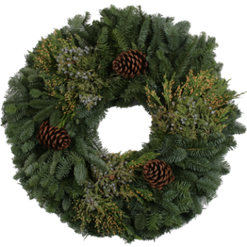 Mixed Noble Fir Wreath, 32-inch