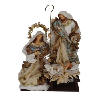 Blue & Gold Nativity, 14 inches tall