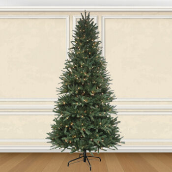 7.5-foot Slim Deluxe Fraser Fir Artifical Christmas Tree Pre-lit with 600 Sure Lit Clear Lights