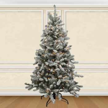 4.5-foot Birmingham Flocked Fir Artifical Christmas Tree Pre-lit with 200 Sure Lit Clear Lights