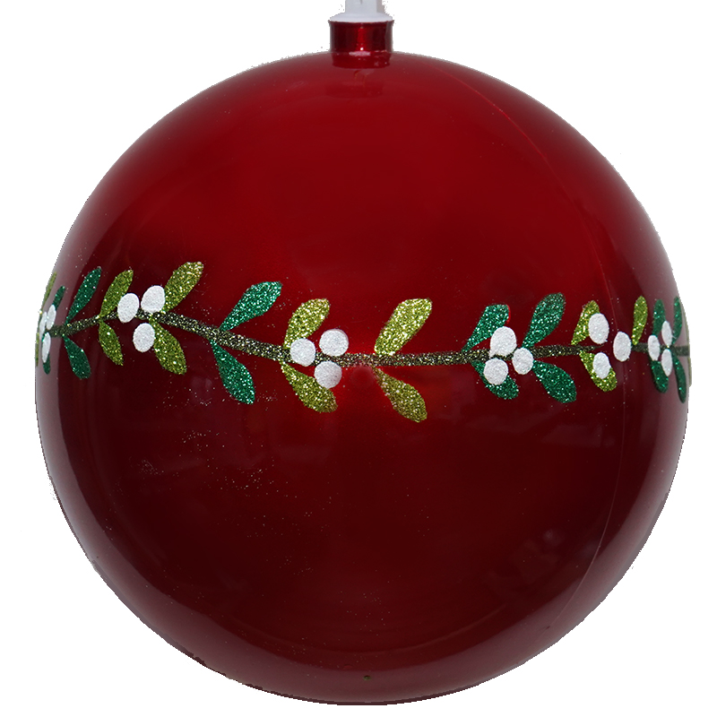 Mistletoe Collection Red Shatter Resistant Ornament, 8 inch