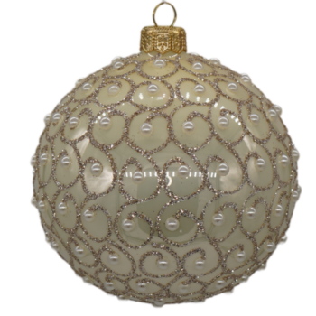 Champagne and Gold Glitter Swirl Beaded Christmas Ornament