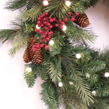 Decorated Fir Artificial Christmas Wreath Pre-lit