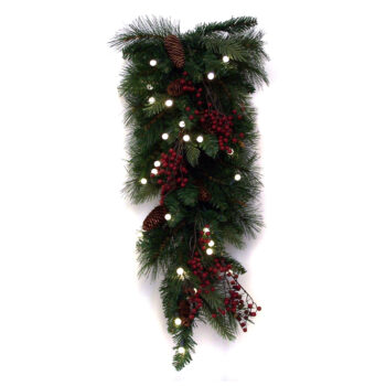 Decorated Fir Teardrop Artificial Christmas Decoration Pre-lit with LED Battery-operated Lights with Timer