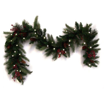 6-foot Decorated Fir Artificial Christmas Garland Pre-lilt with 40 Dual Color LED Battery-operated Lights with Timer