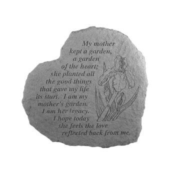 Mother's Garden Heart Memorial Stone, 12 inches