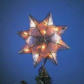 10-inch Capiz Star Tree Top with Clear Incandescent Lights