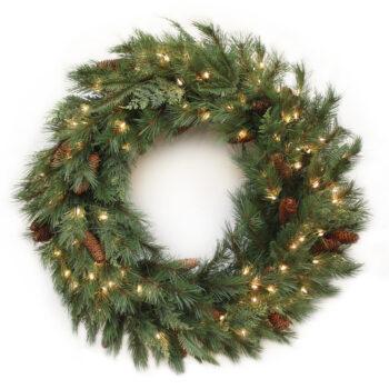 Cedar Fir Mixed Artificial Christmas Wreath Pre-lit with Incandescent Lights