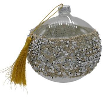 Gold and Silver Bead Encrusted Christmas Ornament