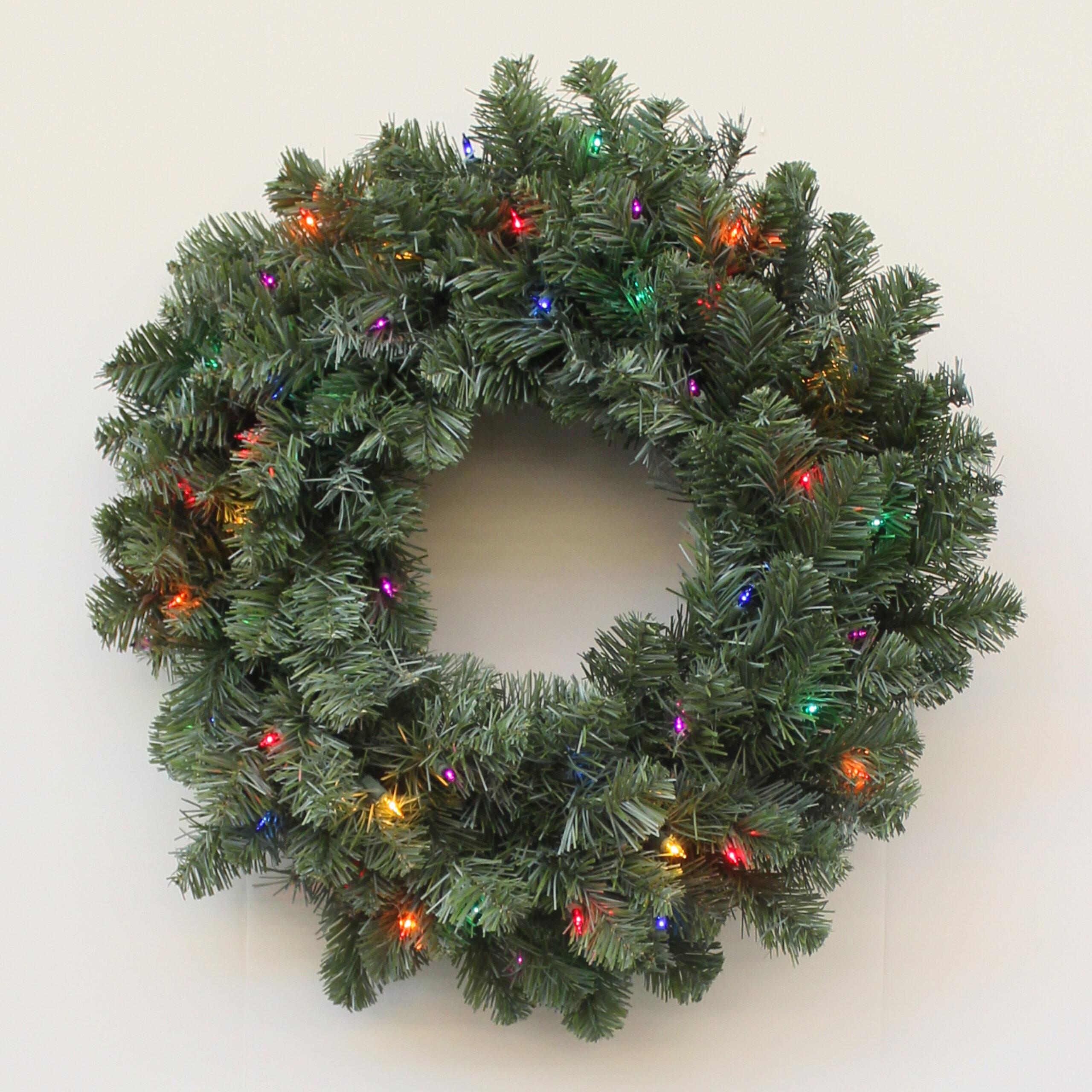 75819 Northern Douglas Fir Artificial Christmas Wreath Multi Incandescent Lights English Gardens