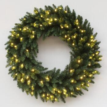 Fraser Fir Christmas Artificial Christmas Wreath Pre-lit with LED Lights