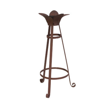 Decorative 3-Leg Rust Leaf Gazing Globe Stand, 20 inches tall