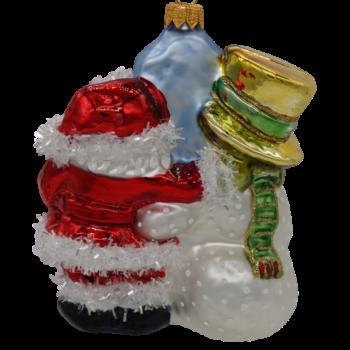 Detroit Snowman and Santa Christmas Ornament