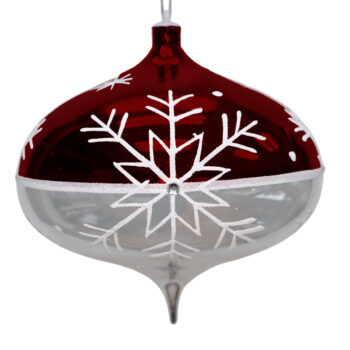 Snowflake Collection Shiny Red and Silver Shatter Resistant Onion Ornament, 9 inch