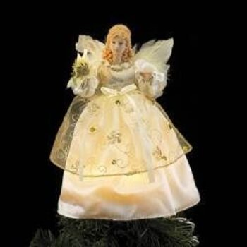 9-inch Ivory and Gold Angel Tree Top with Clear Incandescent Lights