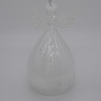 Clear Glitter Angel Christmas Ornament
