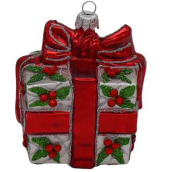 Christmas Gift with Red Bow Christmas Ornament