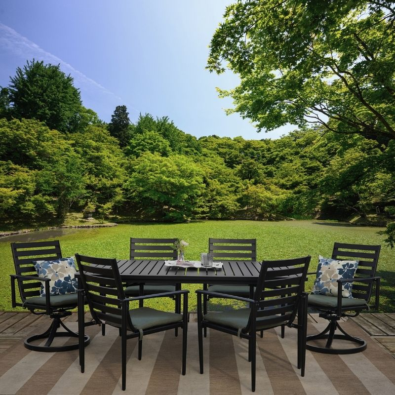 Get Bedford 7 Piece Cast Aluminum Outdoor Patio Furniture Dining Set In Mi At English Gardens Nurseries Serving Clinton Township Dearborn Heights Eastpointe Royal Oak West Bloomfield And The Plymouth Ann