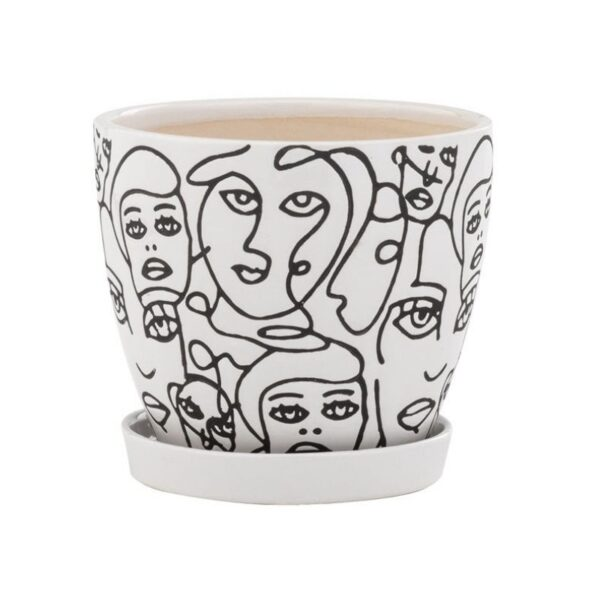 Black and White Faces Pot