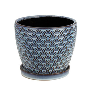 Ceramic Pot Featuring Embossed Design and Attached Saucer