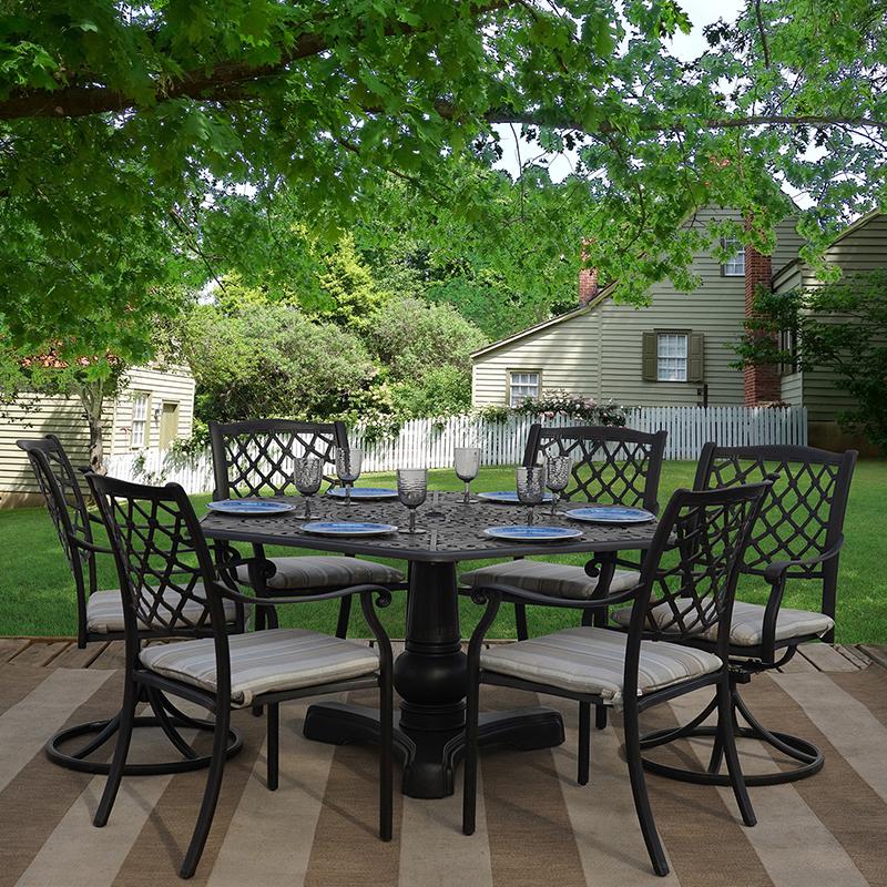 Get Lakeside 7 Piece Cast Aluminum, Outdoor Patio Furniture Set
