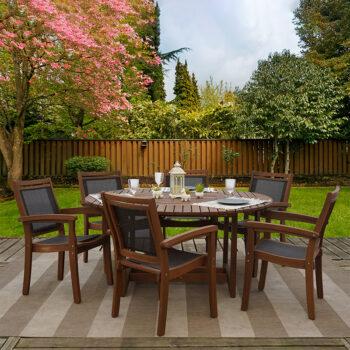 Grande 7-piece Eucalyptus Wood Outdoor Patio Furniture Dining Set