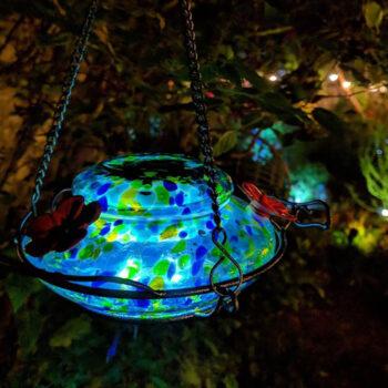 Solar Powered Illuminated Glass Hummingbird Feeder