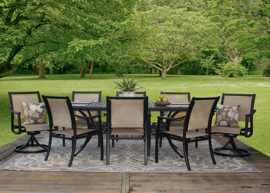 Get Stratford 9 Piece Cast Aluminum Sling Patio Furniture Dining Set In Mi At English Gardens Nurseries Serving Clinton Township Dearborn Heights Eastpointe Royal Oak West Bloomfield And The Plymouth Ann