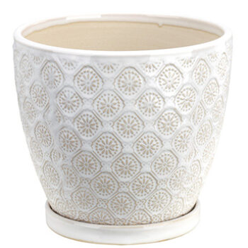 Ceramic Pot with Medallion Embossed Design and Attached Saucer